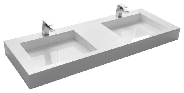 Adm Matte White Wall Hung Stone Resin Sink Modern