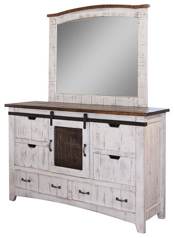 Gentil Anton Distressed Sliding Barn Door Dresser With Mirror, White
