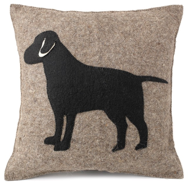 Black Lab Cushion Cover Hand Felted Wool