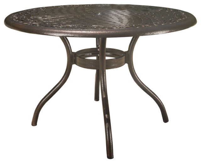Kiawah Hammered Bronze Cast Aluminum Outdoor Patio Round Table.