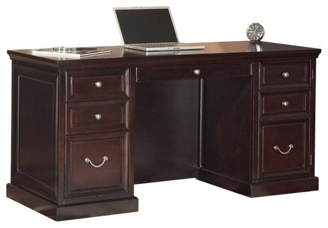 Kathy Ireland Home Fulton  Space Saver Double Pedestal Desk