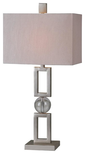 Davos One Light Table Lamp Silver Leaf Off-White Linen Shade by Renwil