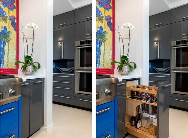 Example of a large minimalist u-shaped white floor eat-in kitchen design in Hawaii with flat-panel cabinets, gray cabinets, solid surface countertops, multicolored backsplash, mosaic tile backsplash, paneled appliances, an island and white countertops