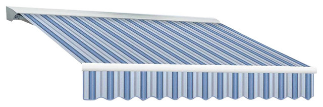 12&x27; Destin-Lx Left Motor, Remote Retractable Awning, 120 Projection, Blue Multi.