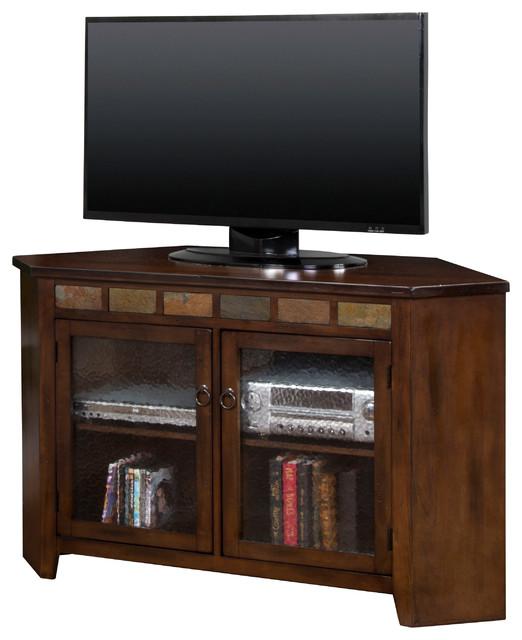Prescott Corner TV Console, Dark Chocolate - Craftsman - Entertainment Centers And Tv Stands ...