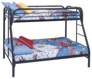 Metal Bunk Bed, Twin, Black