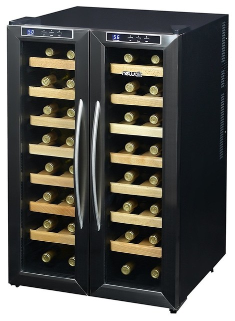 Newair aw 321ed 32 bottle dual zone thermoelectric wine for Beer and wine cooler table