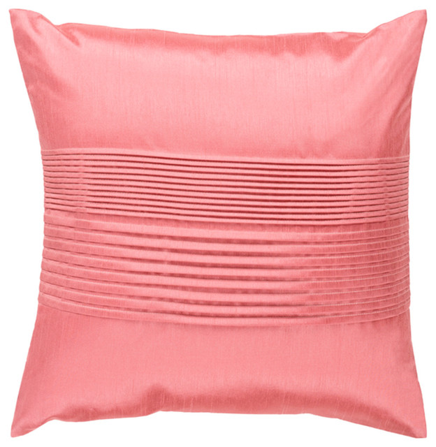 Surya Solid Pleated 22x22x5 Pink Pillow Kit Square.