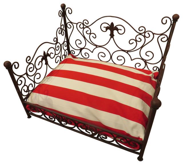 French Cottage Fleur De Lis Iron Pet Bed, Dog Scroll Brown Metal  Mediterranean Dog  Dr Livingstone I Presume Furniture