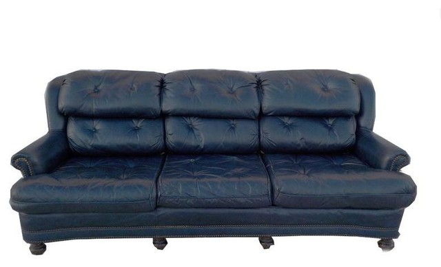 Vintage Tufted Blue Leather Chesterfield Sofa Modern Sofas by Chairish
