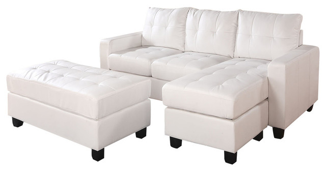 Wondrous Lyssa Sectional Sofa Reversible Chaise And Ottoman White Andrewgaddart Wooden Chair Designs For Living Room Andrewgaddartcom