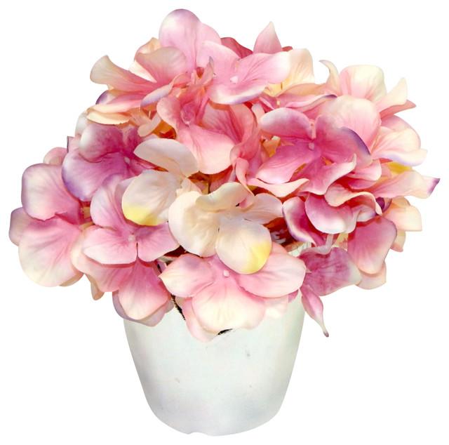 Faux hydrangea in silver vase traditional vases by silk flower faux hydrangea in silver vase mightylinksfo