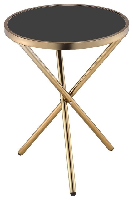 Acme Lajita Side Table, Black Glass And Champagne.