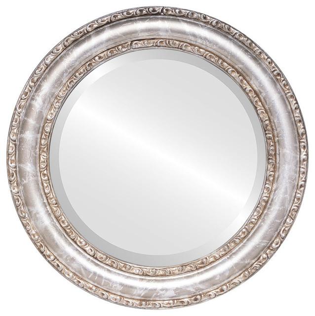 Dorset Framed Round Mirror In Champagne Silver, 33x33.