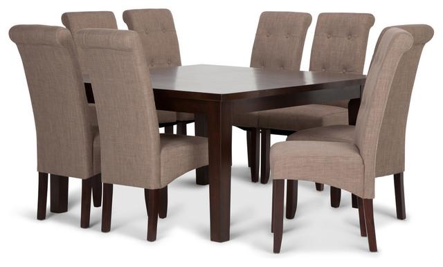 Cosmopolitan 9-Piece Dining Set, Light Mocha Linen by Simpli Home Ltd.