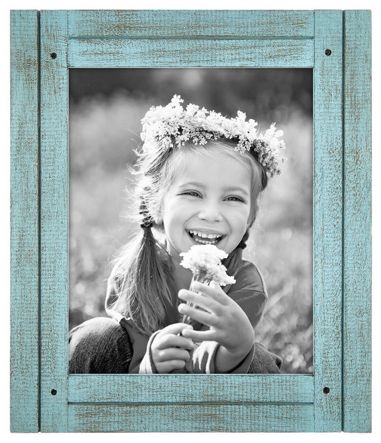 "Distressed Wood Picture Frame, Turquoise, 8""x10"", Turquoise"