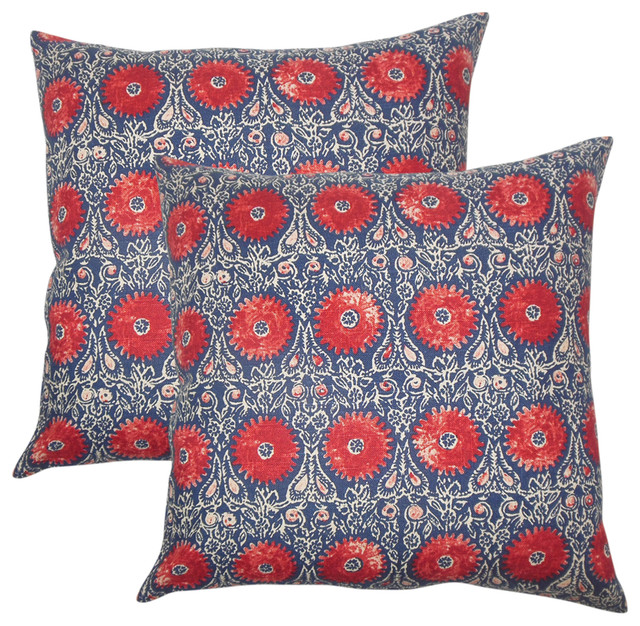 Xaria Floral Throw Pillows, Set Of 2, Red Blue.