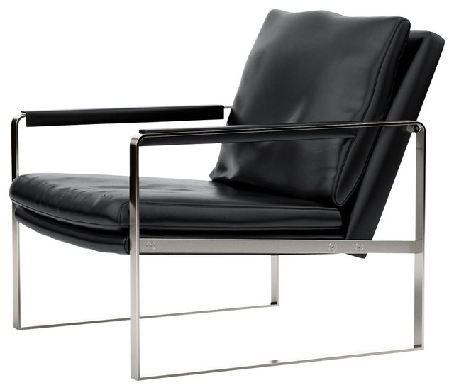 Charles Armchair, Black Bicast Leather