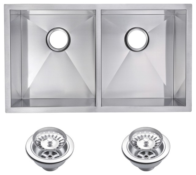 Zero Radius 50/50 Double Bowl Undermount Kitchen Sink With Drains And Strainers.