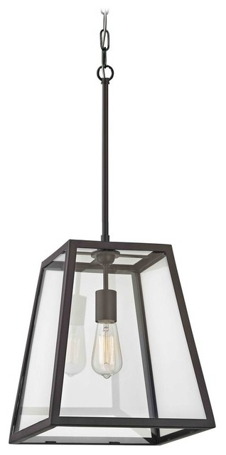 Country Bronze Mini-Pendant Light With Square Shade.