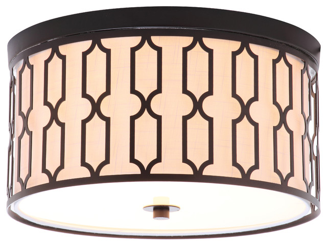 "Link 3-Light 16.75"" Metal Flush Mount."