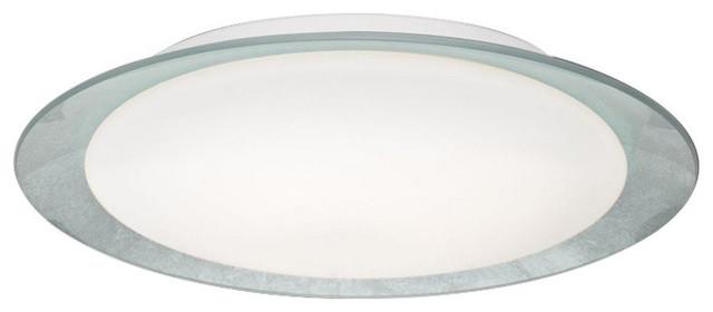 Tuca 15.5 16w 1 Led Flush Mount, Opal/silver Foil.