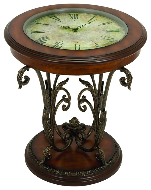 Rustic wrought iron and wood style mdf round clock table for Clock coffee table round