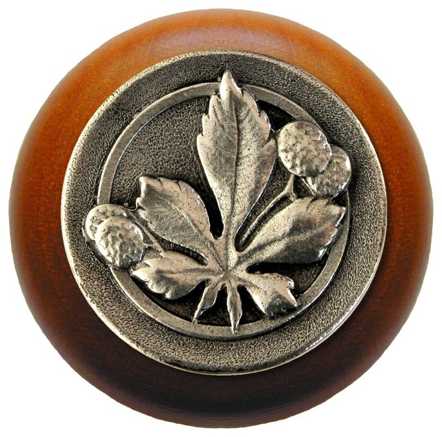 Horse Chestnut Wood Knob, Antique Brass, Cherry Wood Finish - Rustic - Cabinet And Drawer Knobs ...