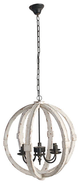 "Wood-Metal Globe Chandelier, 22.5"", Cream farmhouse-chandeliers"