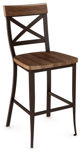 Non Swivel Stool With Criss-Cross Backrest, Counter Seat