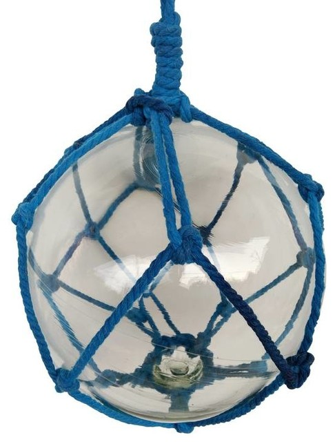 Clear Japanese Glass Ball Fishing Float With Dark Blue Netting Decoration 10&x27;&x27;.