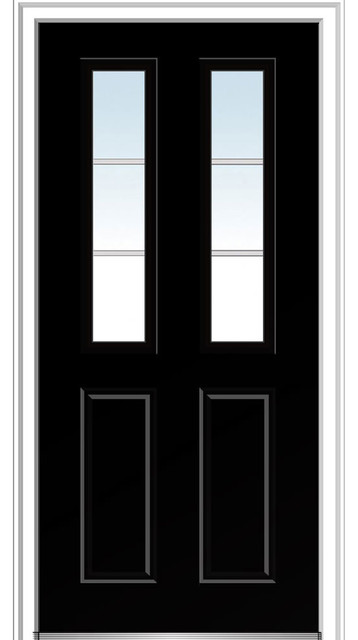 """Clear Glass 2-1/2 Lite 2-Panel Steel 37.5""""x81.75"""" Right Hand In-Swing."""