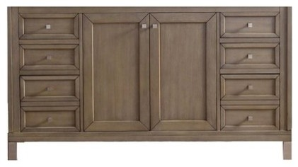 "60"" Chicago Double Cabinet Only Without Top, White Washed Walnut."