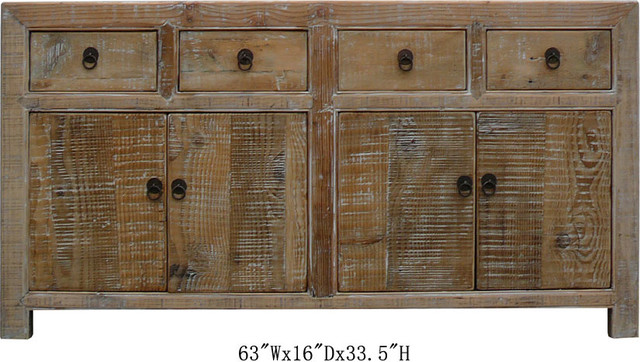 Chinese Antique Natural Wood Multiple Drawers Buffet Table Cabinet - Tropical - Side Tables And ...