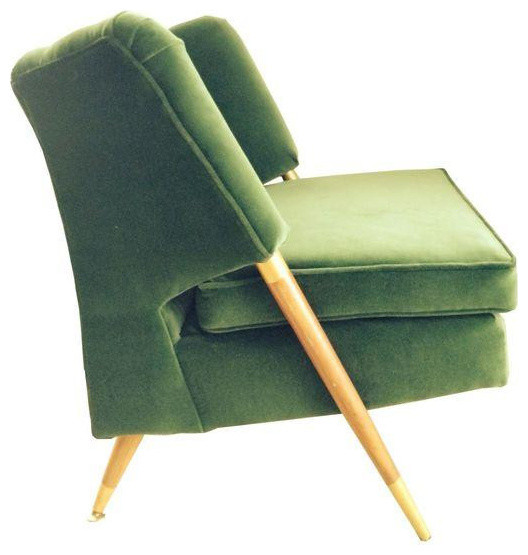 Mid Century Emerald Green Velvet Chair   $1,500 Est. Retail   $900 On  Chairish.c