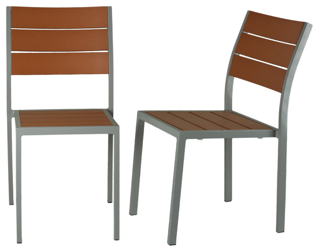 Avery Aluminum Outdoor Chair Poly Wood Silver Teak Set Of 2