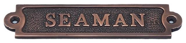 Antique Copper Seaman Sign 6'', Nautical Sign, Nautical Theme Decor
