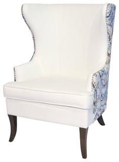 Elliot Wingback Chair, White Paisley
