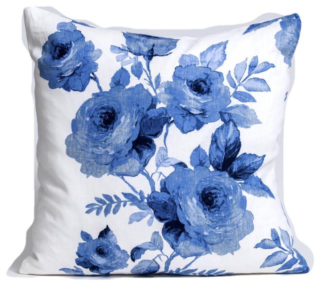 Blue floral pillow cover, designer linen pillow cover, , 22x22