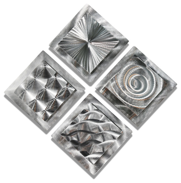 4 Squares Metal Wall Art By Artist Jon Allen, Set Of 4 Contemporary Metal Part 72