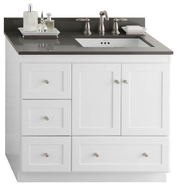 "Ronbow Shaker Bathroom Vanity Cabinet Base, White, Wood Doors, Right, 36"" - Contemporary ..."