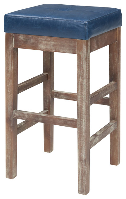 Valencia Bonded Leather Counter Stool With Driftwood Legs
