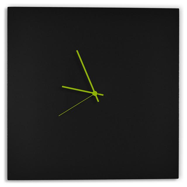 Black Wall Clocks blackout square clock, minimalist modern black metal clocks