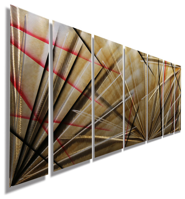 Contemporary Metal Wall Art modern red, black and brown metal panel wall art, meteor eclipse