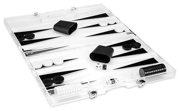 Clear Lucite Backgammon Set, Black and White