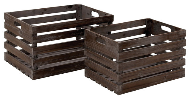 Wood Wine Crate, 2-Piece Set.
