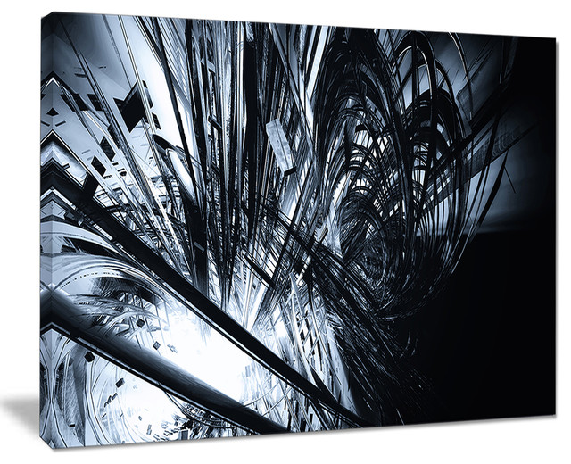 3d Abstract Art Black White Abstract Digital Canvas Print 20 X12