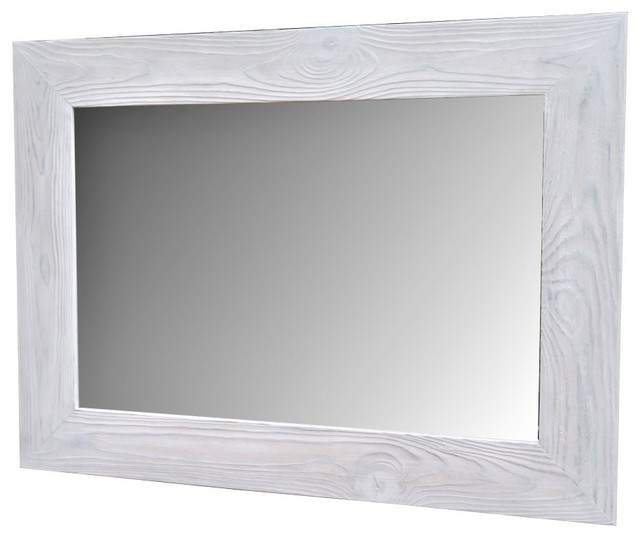 white vanity mirror, handmade reclaimed wood - rustic - bathroom