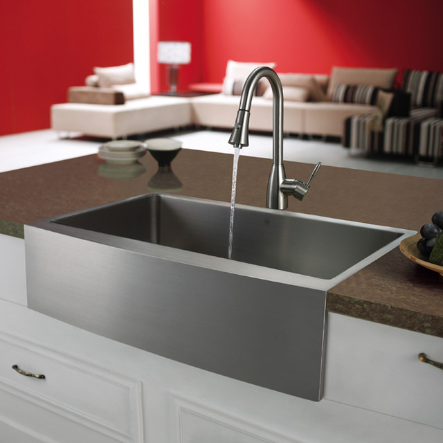 Stainless Country Sink : VIGO Premium Series Farmhouse Stainless Steel Kitchen Sink and Faucet ...