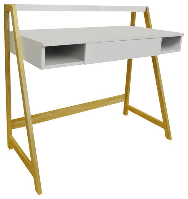 Lean Retro Office Desk/Computer Workstation/Dressing Table, Pine/White